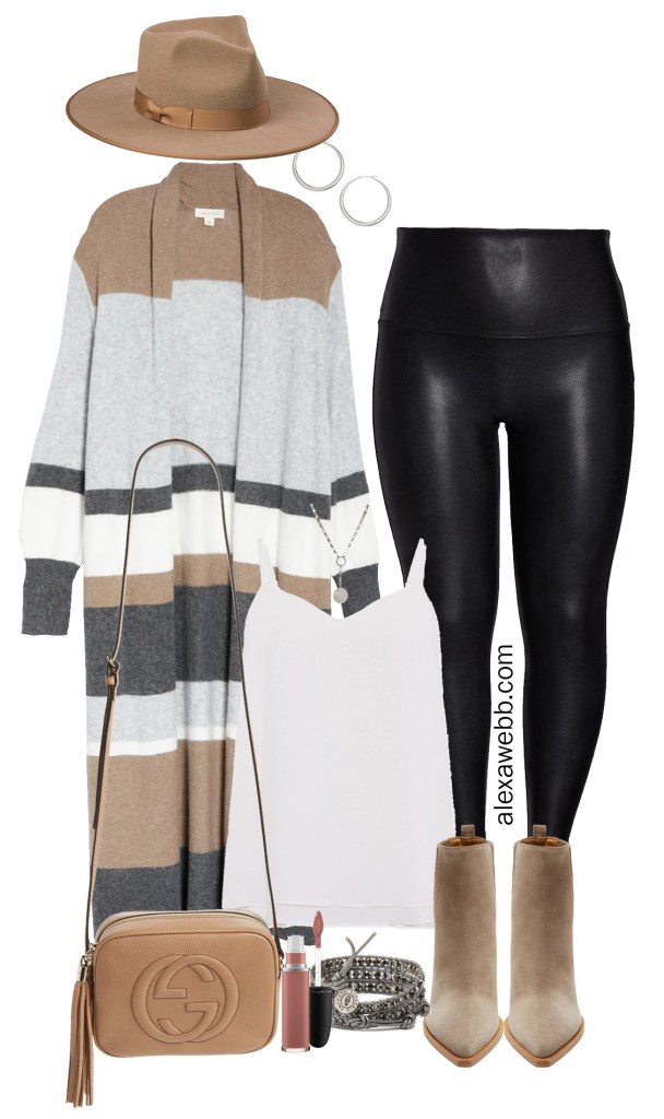 Plus Size Striped Duster Cardigan Outfit with Spanx Faux Leather Leggings, Ankle Booties, Crossbody Bag, and Rancher Fedora Hat - Alexa Webb #plussize #alexawebb