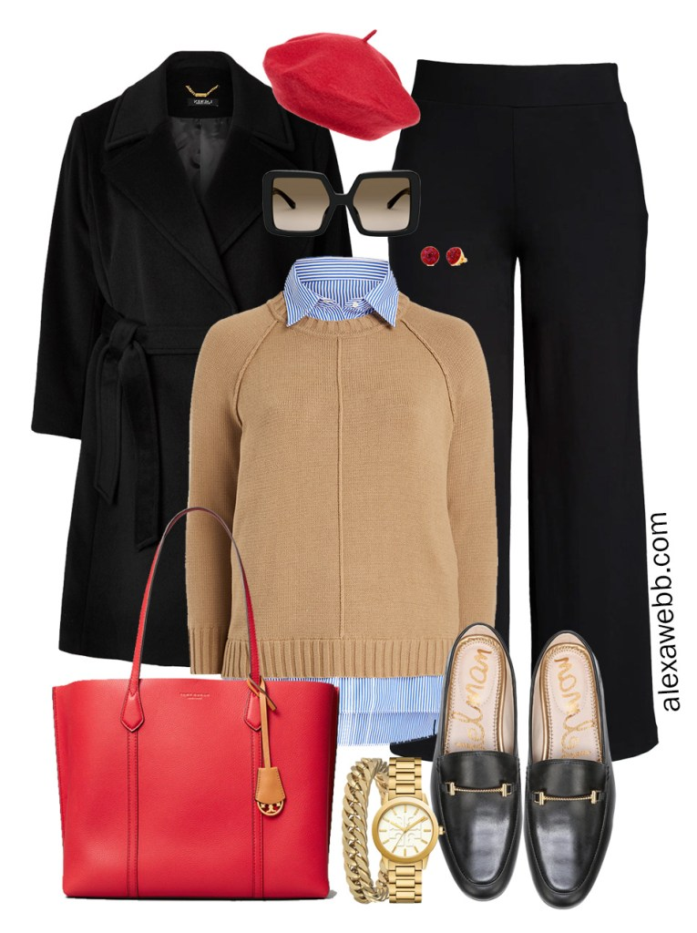Plus Size Winter Work Outfit with Black Sraight Leg Pants, Loafers, Sweater and Buttondown, with Red Tote and Loafers - Alexa Webb #plussize #alexawebb