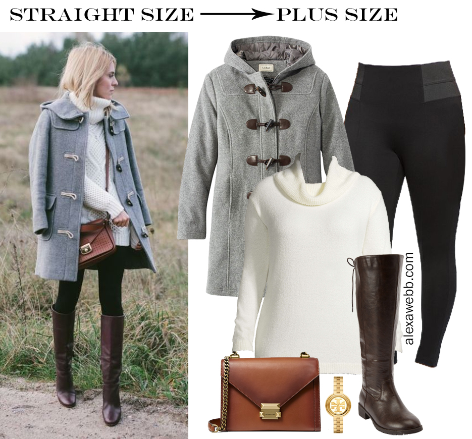 Straight Size to Plus Size – Winter Outfit with Ponte Leggings, Turtleneck Tunic Sweater, Wide Calf Riding Boots, and a Duffle Coat - Alexa Webb #plussize #alexawebb