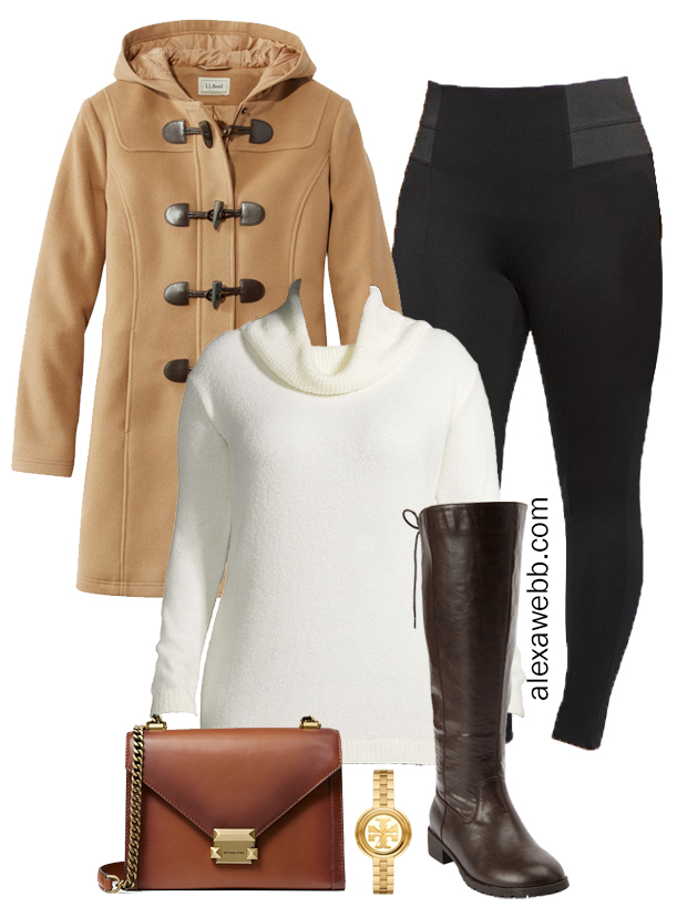Plus Size Winter Outfit with Ponte Leggings, Turtleneck Tunic Sweater, Wide Calf Riding Boots, and a Duffle Coat - Alexa Webb #plussize #alexawebb