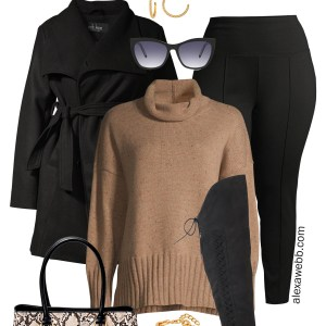 Plus Size Cold Weather Outfit - Classic Camel and Black Turtleneck with Leggings and Over-the-Knee Wide Calf Boots - Alexa Webb #plussize #alexawebb