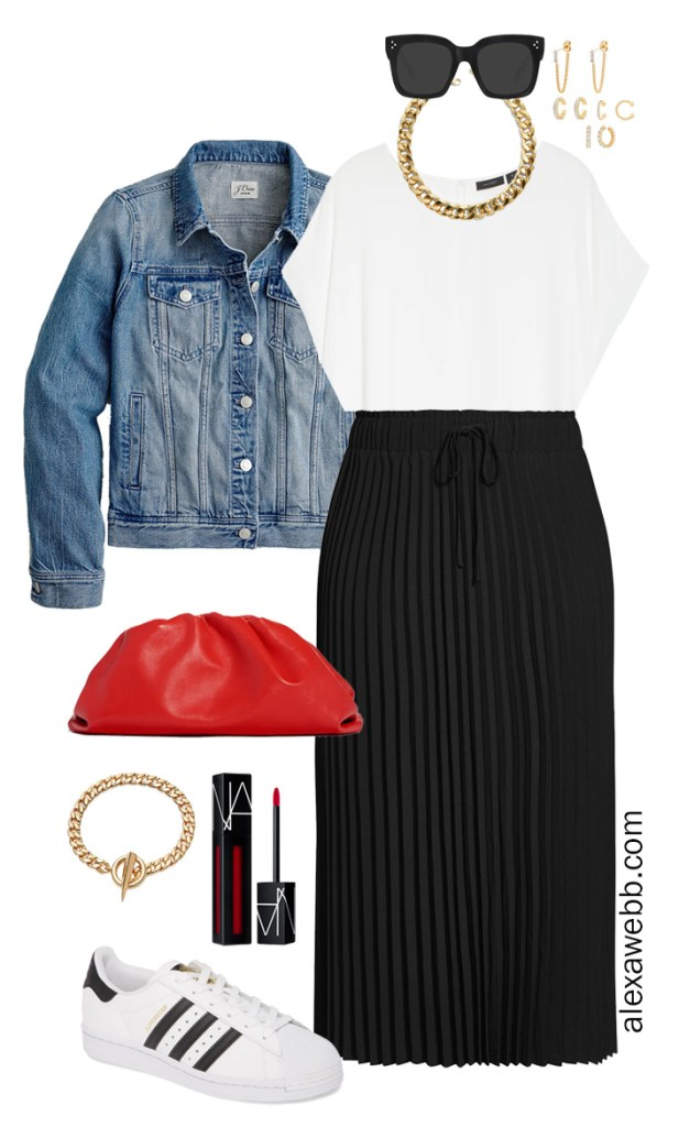 Plus Size Black Pleated Skirt Outfit with a Denim Jacket, Red Clutch, and Adidas Sneakers for Spring - Alexa Webb #plussize #alexawebb