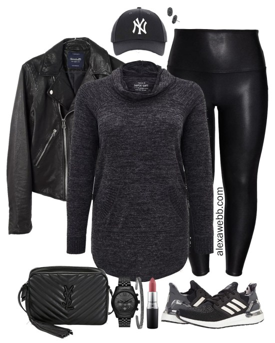 Plus Size Sporty Faux Leather Leggings Outfit with Tunic Sweatshirt, Leather Biker Jacket, Baseball Cap, and Sneakers - Plus Size Athleisure - Alexa Webb