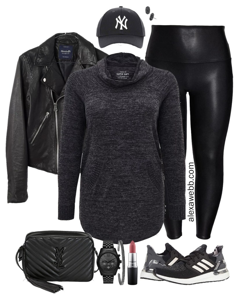 Plus Size Sporty Faux Leather Leggings Outfit with Tunic Sweatshirt, Leather Biker Jacket, Baseball Cap, and Sneakers - Plus Size Athleisure - Alexa Webb #plussize #alexawebb