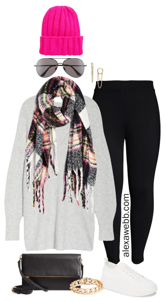 Plus Size Leggings Outfit Ideas with black ponte leggings, tunic sweater, white sneakers, plaid scarf, and neon beanie - Alexa Webb #plussize #alexawebb