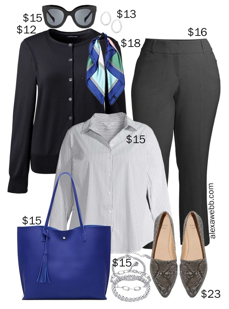 Plus Size on a Budget – Winter Work Outfit Idea with Black Cardigan, Stripe Button Down, and Bootcut Work Pants - Alexa Webb #plussize #alexawebb