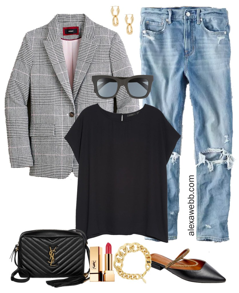 Plus Size Plaid Blazer & Mom Jeans Outfit Ideas with Black Top and Mules - Alexa Webb #plussize #alexawebb