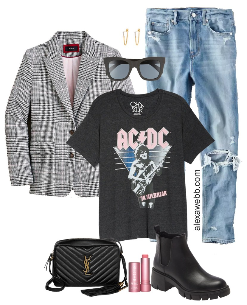 Plus Size Plaid Blazer & Mom Jeans Outfit Ideas with Band Graphic T-Shirt and Lug Boots - Alexa Webb #plussize #alexawebb