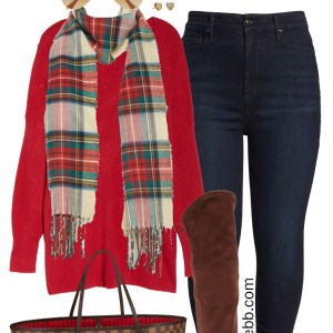 Plus Size Red Tunic Sweater Outfit with plaid scarf, jeans, wide calf over-the-knee boots and Louis Vuitton Neverfull - Alexa Webb #plussize #alexawebb