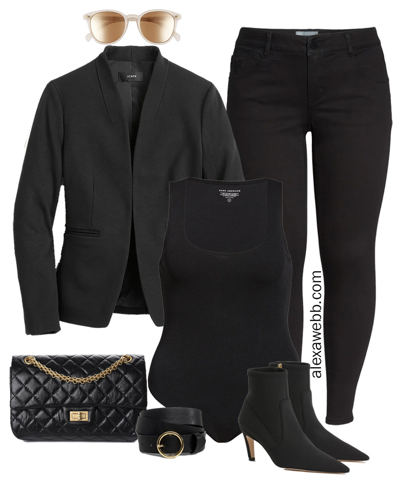 Plus Size All Black Outfit Idea inspired by Jennifer Aniston for fall and winter with black skinny jeans, shrunken blazer, and bodysuit - Alexa Webb #plussize #alexawebb