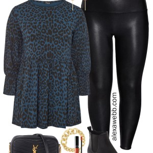 Plus Size Faux Leather Leggings Outfit for Winter with Leopard Tunic, Crossbody Bag, amd Lug Booties - Alexa Webb