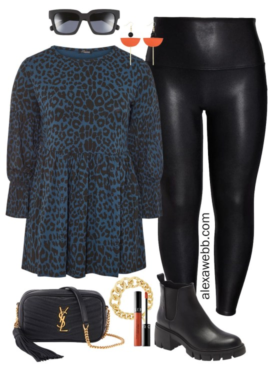 Plus Size Faux Leather Leggings Outfit for Winter with Leopard Tunic, Crossbody Bag, and Lug Booties - Alexa Webb