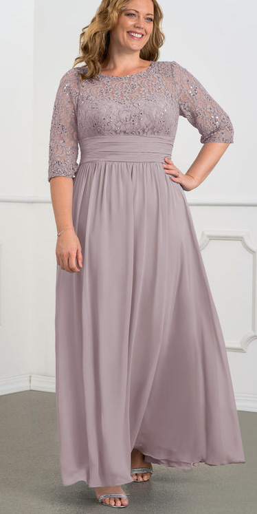 24 Plus Size Mother of the Bride and Mother of the Groom Dresses. Long gowns in a mauve. Alexa Webb