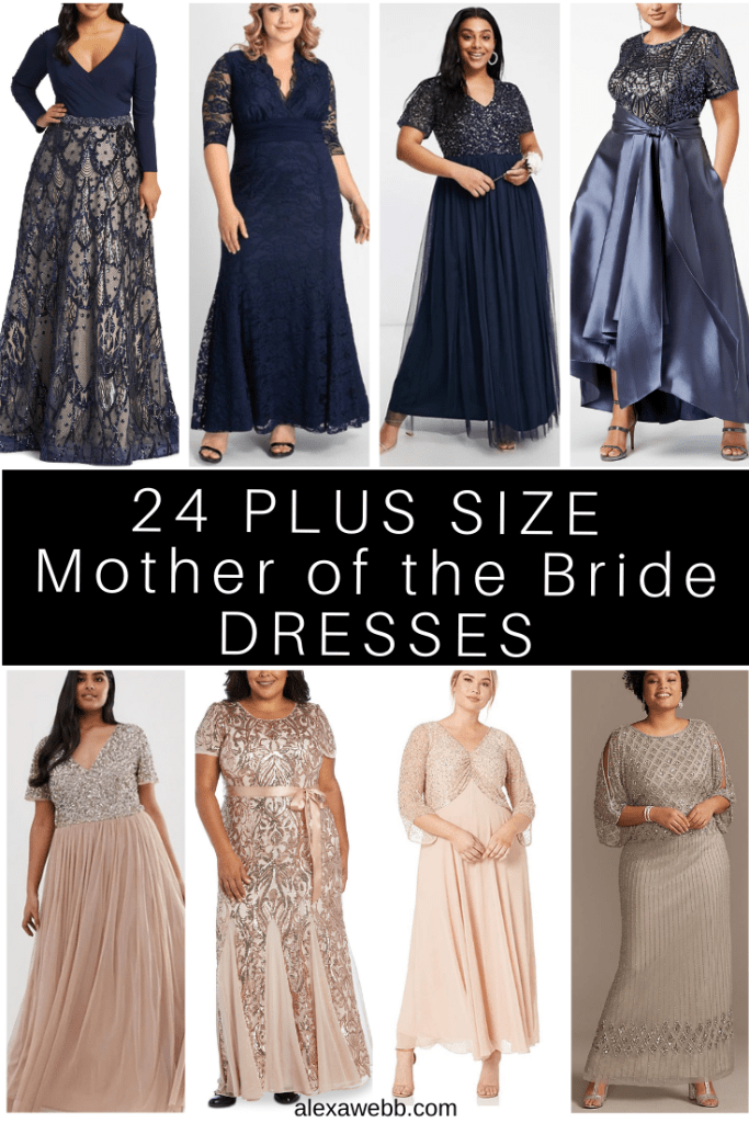 24 Plus Size Mother of the Bride and Mother of the Grrom Dresses. Long gowns in a variety of colors. Alexa Webb