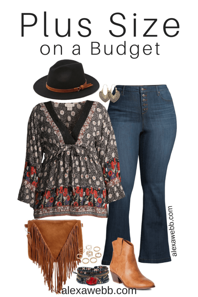 Plus Size on a Budget - Boho Outfit with plus size boho top, flared jeans, western booties, fedora hat, and fringe crossbody bag - Alexa Webb