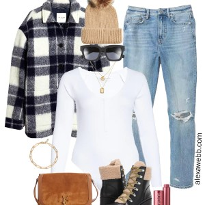 Plus Size Shacket Outfit with plussize plaid shirt jacket, henley bodysuit, mom jeans, and winter boots - Alexa Webb