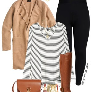 Plus Size Leggings Outfit with a striped tunic t-shirt, a sweater blazer, wide calf boots, and Saint Laurent crossbody bag - Alexa Webb