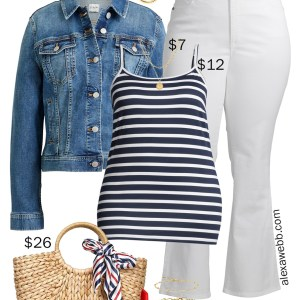 Plus Size on a Budget – White Flare Jeans Outfit with striped cami, denim jacket, and straw tote - Alexa Webb