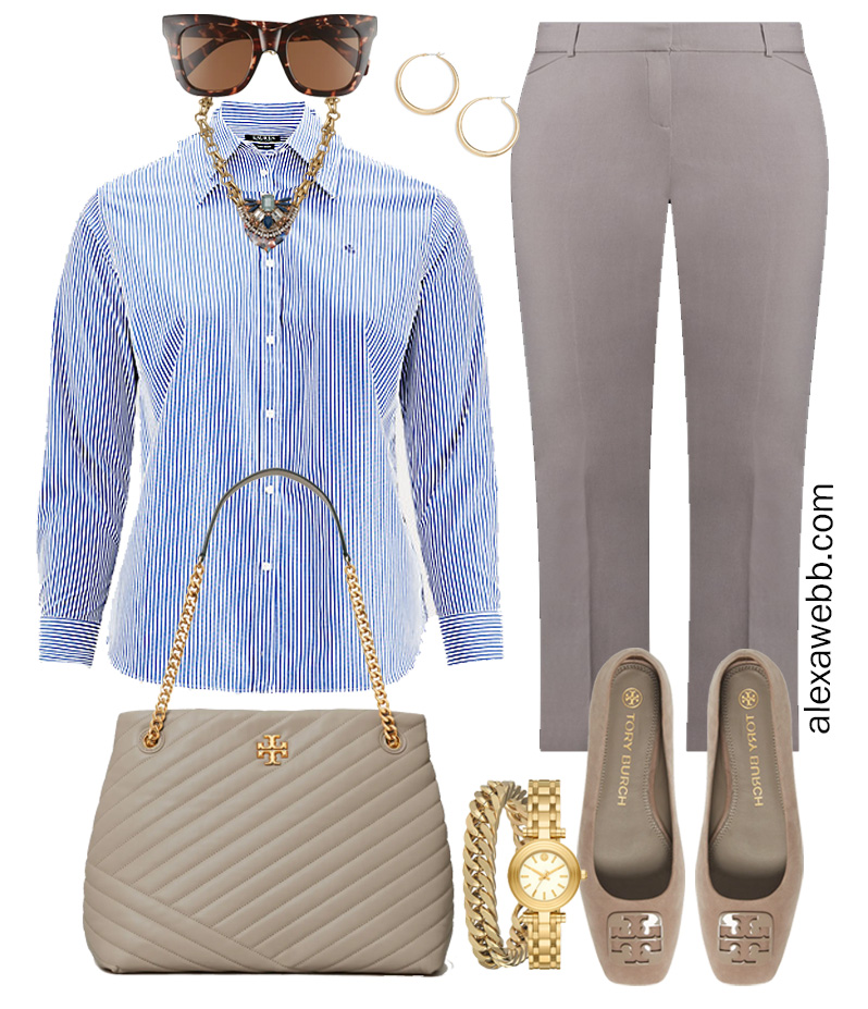 Plus Size Spring Work Outfit Idea from a Plus Size Spring Work Capsule Wardrobe with a Grey Pants and a Blue and White Stripe Button Down Shirt - Alexa Webb