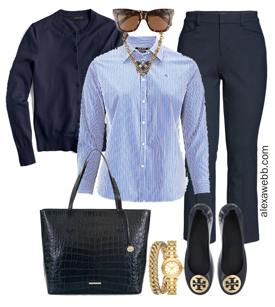 Plus Size Spring Work Outfit Idea from a Plus Size Spring Work Capsule Wardrobe with Navy Bootcut Pants and a Blue and White Stripe Button Down Shirt with a Navy Cardigan - Alexa Webb