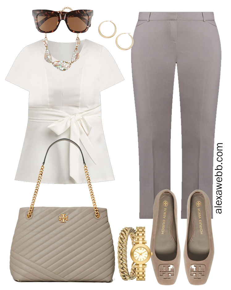 Plus Size Spring Work Outfit Idea from a Plus Size Spring Work Capsule Wardrobe with a Grey Pants and a White Top - Alexa Webb