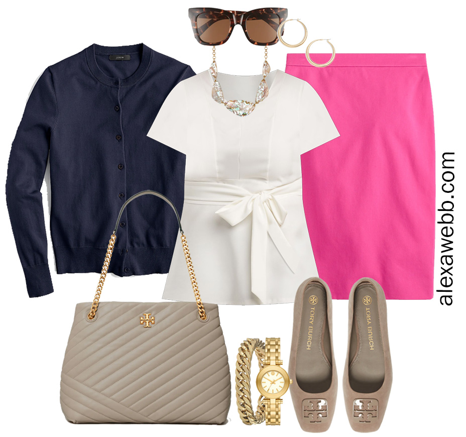 Plus Size Spring Work Outfit Idea from a Plus Size Spring Work Capsule Wardrobe with a Hot Pink Magenta Skirt and a White Top with a Navy Cardigan - Alexa Webb