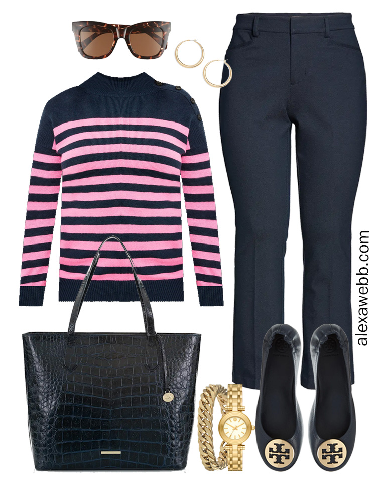 Plus Size Spring Work Outfit Idea from a Plus Size Spring Work Capsule Wardrobe with Navy Bootcut Pants and a Pink and Navy Striped Sweater- Alexa Webb
