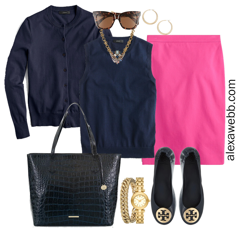 Plus Size Spring Work Outfit Idea from a Plus Size Spring Work Capsule Wardrobe with a Hot Pink Magenta Skirt and a Navy Twinset with a Navy Cardigan - Alexa Webb