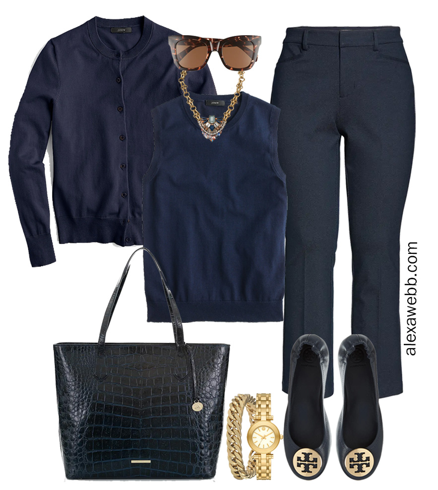Plus Size Spring Work Outfit Idea from a Plus Size Spring Work Capsule Wardrobe with Navy Bootcut Pants and a Navy Twinset with a Navy Cardigan - Alexa Webb