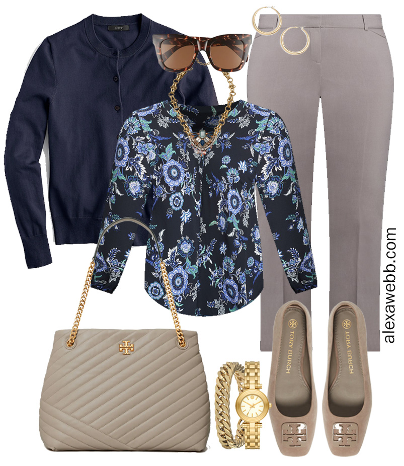 Plus Size Spring Work Outfit Idea from a Plus Size Spring Work Capsule Wardrobe with Grey Pants and a Blue Printed Top with a Navy Cardigan - Alexa Webb