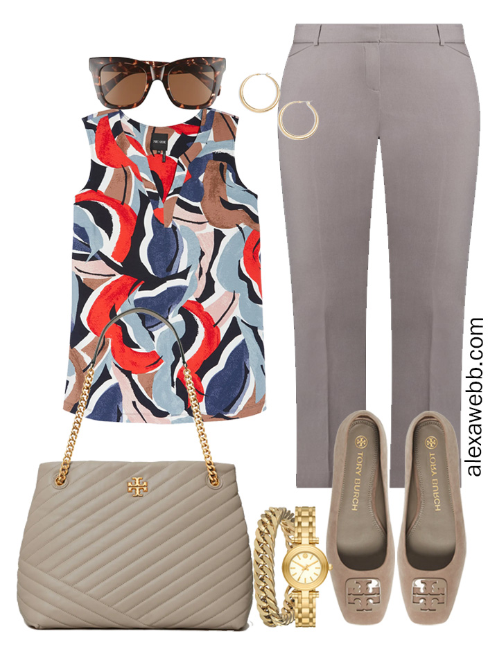 Plus Size Spring Work Outfit Idea from a Plus Size Spring Work Capsule Wardrobe with Grey Pants and a Blue Printed Sleeveless Top - Alexa Webb