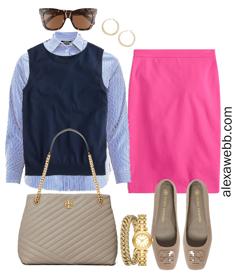Plus Size Spring Work Outfit Idea from a Plus Size Spring Work Capsule Wardrobe with a Hot Pink Magenta Skirt, a Blue and White Stripe Button Down Shirt and a Navy Sweater Vest- Alexa Webb