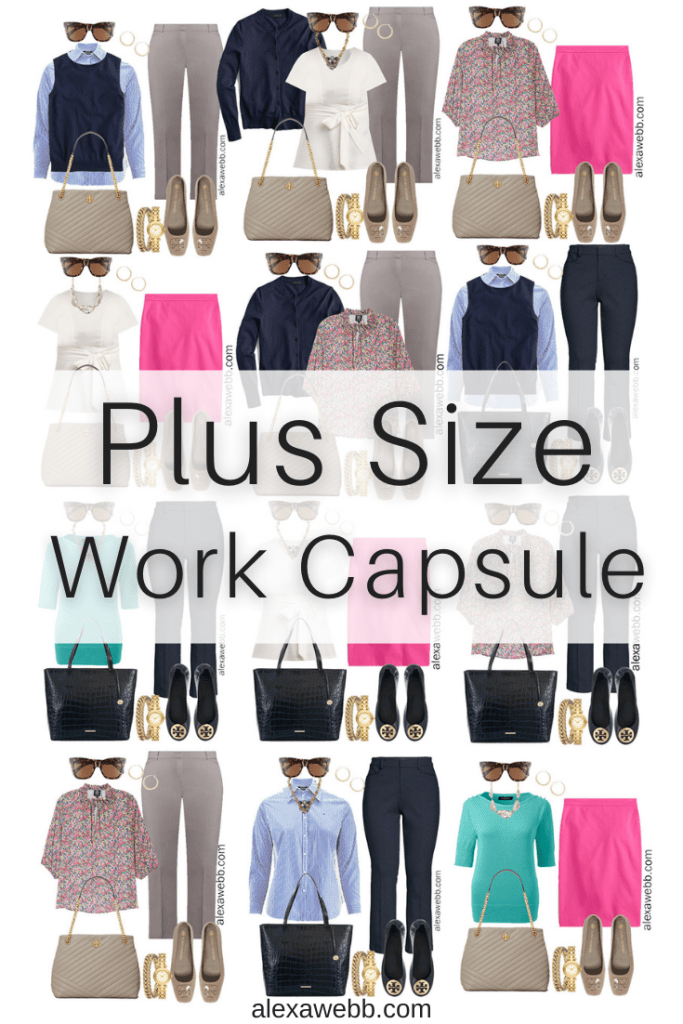 Plus Size Spring Work Capsule Wardrobe - A collection of pieces to mix and match including navy trousers, grey trousers, and a pink skirt - Alexa Webb