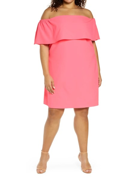 A plus size coral pink off-the-shoulder coral cocktail dress - Alexa Webb