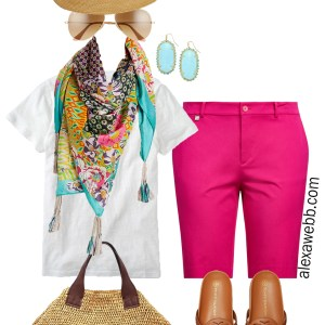 Plus Size Hot Pink Shorts Outfit for Summer 2021 with silk scarf, t-shirt, sandals, fedora, and straw bag - Alexa Webb