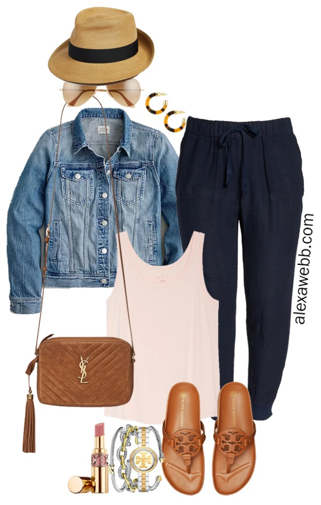 Plus Size Navy Linen Joggers with a blush pink tank, denim jacket, Tory Burch Miller Cloud sandals, and Crossbody Bag - Alexa Webb