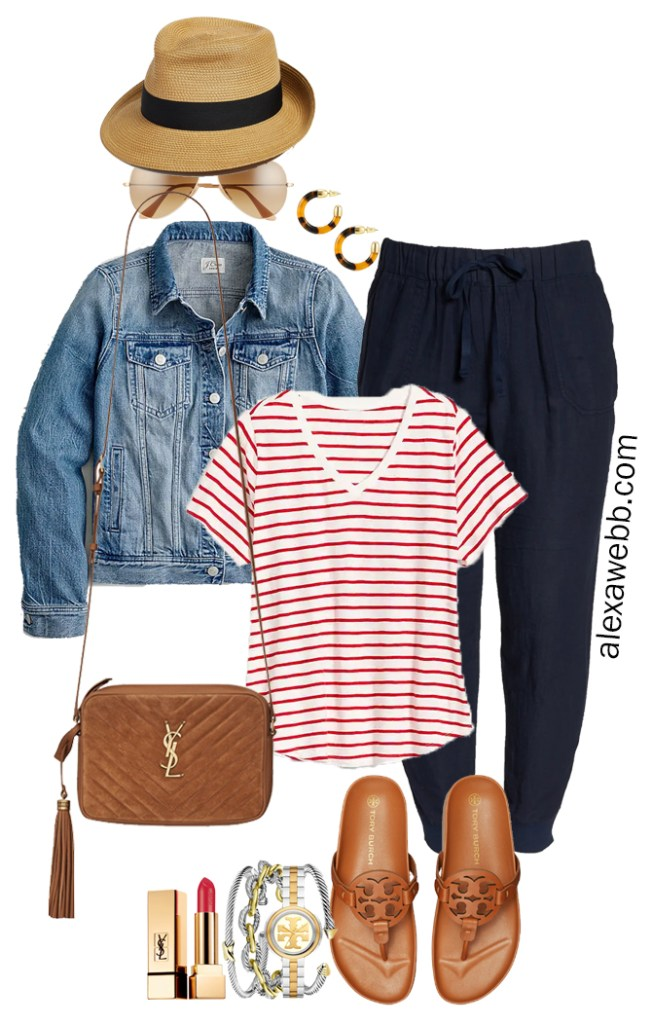 Plus Size Navy Linen Joggers with a straw fedora, red striped t-shirt, denim jacket, Tory Burch Miller Cloud sandals, and Crossbody Bag - Alexa Webb