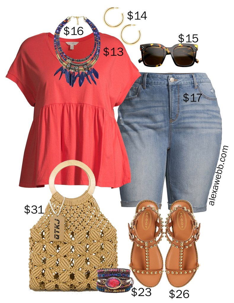 Plus Size on a Budget - Boho Outfits for summer with cut off denim Bermuda shorts, a peplum tee, gladiator sandals, and a crochet bag - Alexa Webb