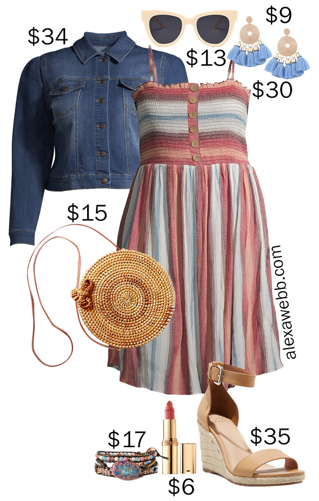 Plus Size on a Budget - Smocked Dress - A plus size smocked dress outfit idea for summer with a plus size striped dress, denim jacket, wedge sandals, rattan bag, and statement earrings - Alexa Webb