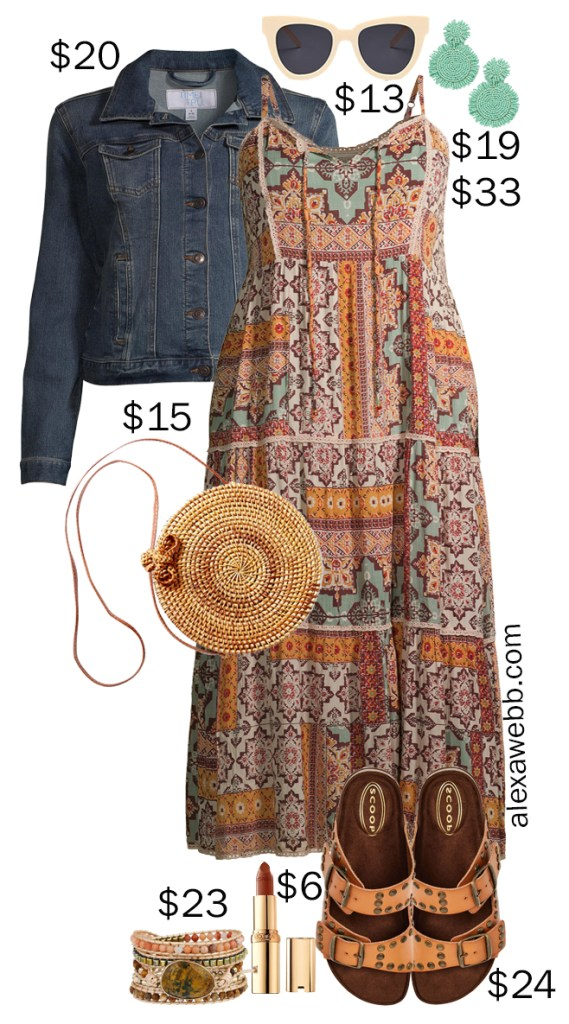 Plus Size on a Budget - Boho Dress - A plus size boho midi dress outfit idea for summer with a denim jacket, studded footbed sandals, rattan bag, and statement earrings - Alexa Webb