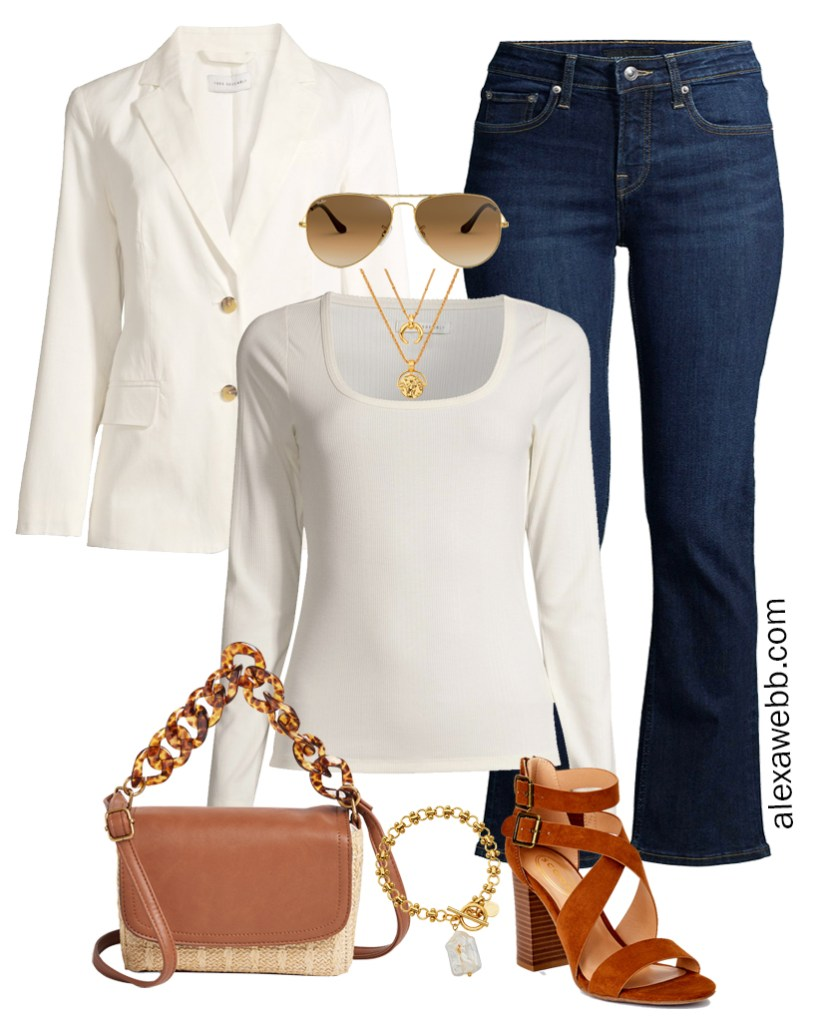 Plus Size Spring Blazer and Jeans Outfit with Walmart featuring bootcut jeans, square neck top, cotton blazer, and heeled sandals - Alexa Webb
