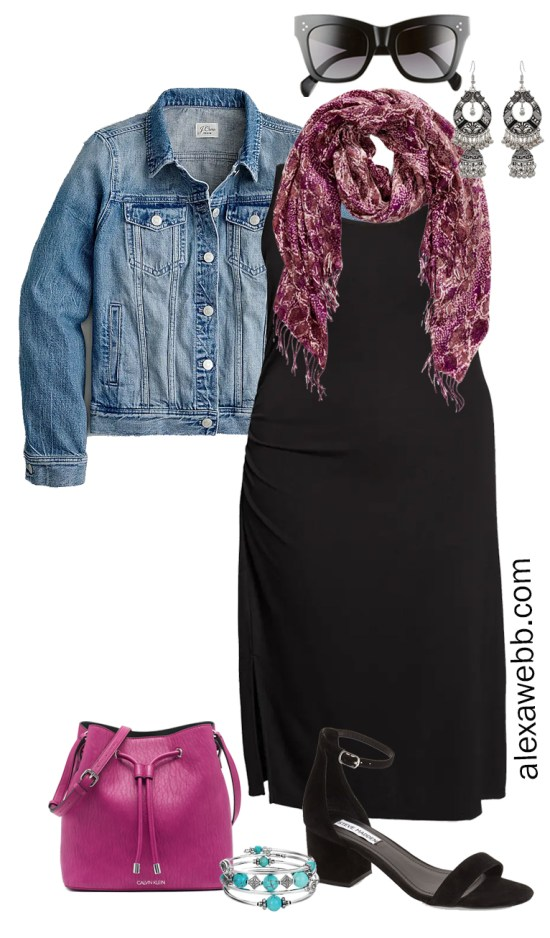 Plus Size Black Tank Dress Outfit with a Blue Denim Jacket, Magenta Crossbody Bag, and Heeled Sandals - Alexa Webb