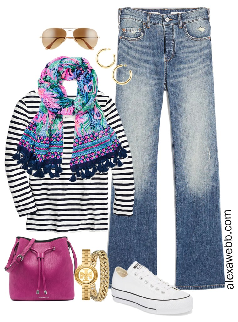 Plus Size Spring Casual Capsule Wardrobe with bootcut jeans, stripe t-shirt, and Lilly Pulitzer scarf - Alexa Webb