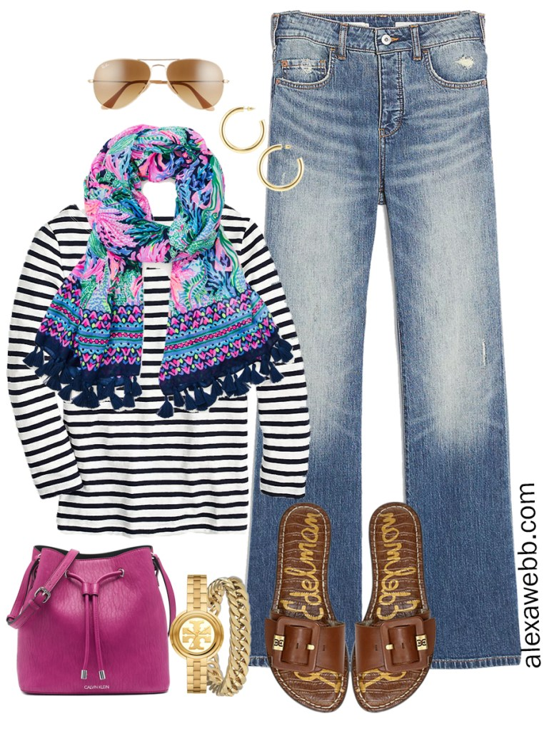 Plus Size Spring Casual Outfit with bootcut jeans, stripe t-shirt, and Lilly Pulitzer scarf - Alexa Webb