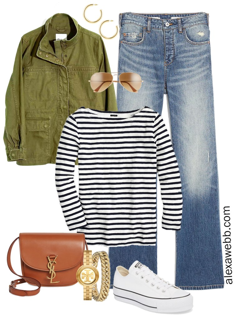Plus Size Spring Casual Capsule Wardrobe with utility jacket, bootcut jeans, stripe t-shirt, and platform sneakers - Alexa Webb