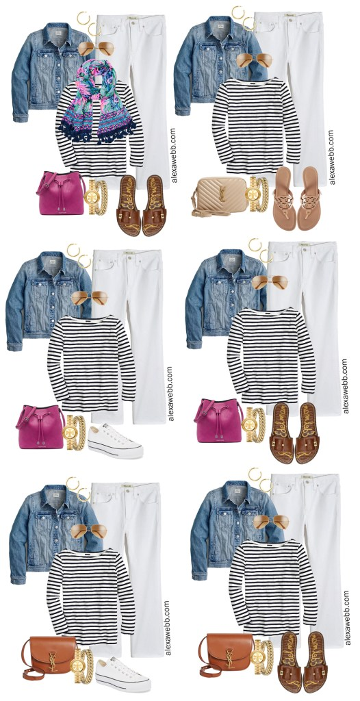 Plus Size Spring Casual Capsule Wardrobe with White Jeans, Striped Navy T-Shirt, Denim Jacket, Lilly Scarf, Sneakers, and Sandals - Alexa Webb