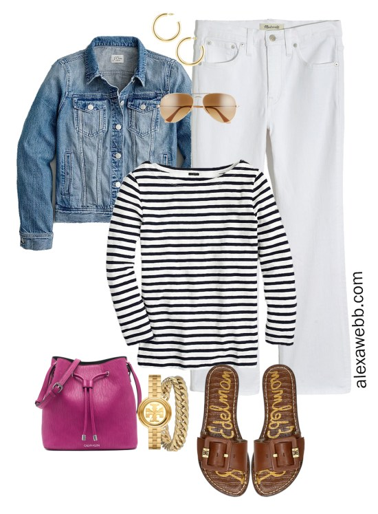 Plus Size Spring Casual Capsule Outfit Idea with cropped bootcut white jeans, stripe t-shirt, and magenta crossbody bag - Alexa Webb