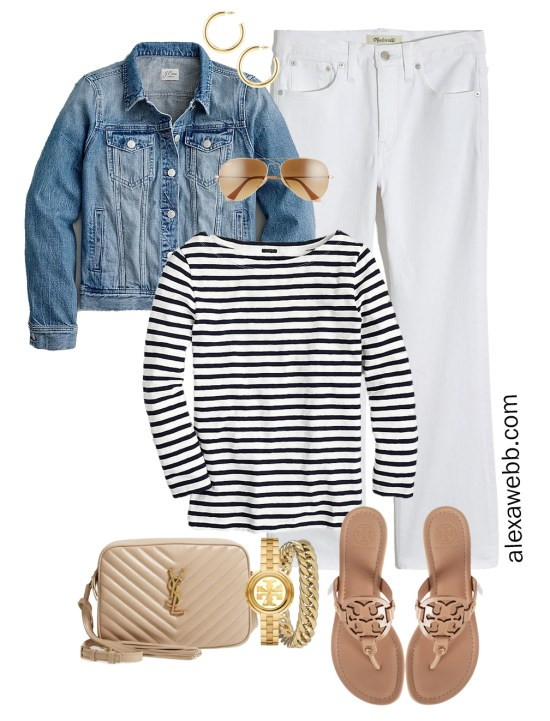 Plus Size Spring Casual Capsule with a denim jacket, bootcut cropped white jeans, stripe t-shirt, beige YSL crossbody bag, and makeup Tory Burch Miller sandals - Alexa Webb