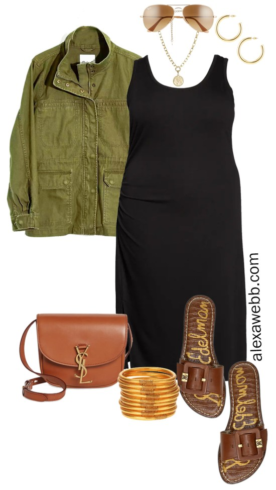 Plus Size Black Tank Dress Outfit for Spring and Summer with a Olive Green Utility Jacket, Tan Crossbody Bag, and Slide Sandals - Alexa Webb