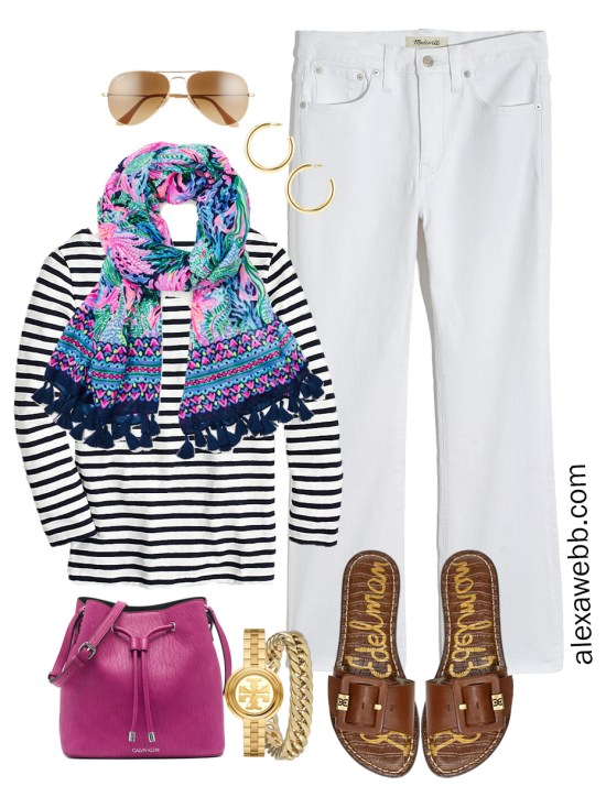Plus Size Spring Casual Capsule Outfit Idea with cropped bootcut white jeans, stripe t-shirt, and Lilly Pulitzer scarf - Alexa Webb